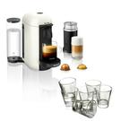 Breville Nespresso VertuoPlus White Coffee Machine with Aeroccino Milk Frother and Free Set of 6 Espresso Glasses