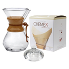 Chemex Classic Wood Collar and Tie Glass 50 Ounce Coffee Maker with Cover and 100 Count Bonded Unbleached Pre-Folded Square Coffee Filters