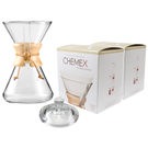 Chemex Wood Collar and Tie Glass 40 Ounce Coffee Maker with Cover and 200 Count Bonded Circle Coffee Filters
