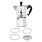 Bialetti Moka Express Aluminum 6 Cup Stove-top Espresso Maker with Replacement Filter and Gaskets