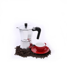 Cilio Classico Induction Ready Espresso Maker with Cilio Roma Red Porcelain Espresso Cup & Saucer