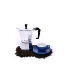 Cilio Classico Espresso Maker with Cilio Roma Dark Blue Porcelain Espresso Cup & Saucer