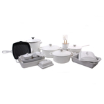 Le Creuset White 21 Piece Mixed Material Cookware and Bakeware Set