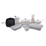 Le Creuset White 18 Piece Mixed Material Cookware and Bakeware Set