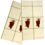 Embroidered Grapes Kitchen Towels Set