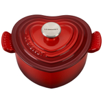 Le Creuset Enameled Cast Iron 1 Quart Cerise Heart Cocotte with Stainless Steel Knob
