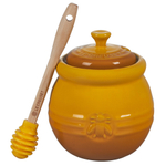 Le Creuset Nectar Enameled Stoneware 16 Ounce Honey Pot with Silicone Dipper
