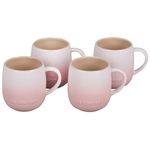 Le Creuset Cafe Collections Enameled Stoneware Shell Pink 13 Ounce Mug, Set of 4