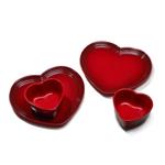 Le Creuset Stoneware Cerise Heart 4 Piece Dishware Set