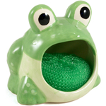 Boston Warehouse Frog Earthenware Dish Scrub Holder with Scrubby