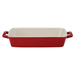 Mrs. Anderson's Baking Rose Ceramic Lasagna Pan with Red Casserole Carrier