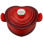 Le Creuset Cerise Cast Iron Signature Heart Shaped Dutch Oven with Stainless Steel and Extra Phenolic Knob