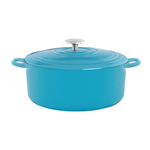 Chantal Sea Blue Round Cast Iron Casserole Dish