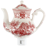 Red Toile Porcelain Teapot Night Light
