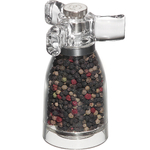 Chef Specialties Spinner Acrylic 4.25 Inch Pepper Mill and Salt Mill Set with Tri-Handle Top