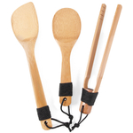 Burnished Bamboo 3 Piece Asian Utensil Set