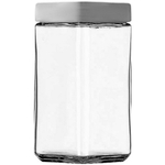 Anchor Hocking Stackable Square Glass Storage Jar with Aluminum Lid