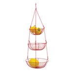 RSVP Red Enameled Wire 3 Tier Hanging Baskets