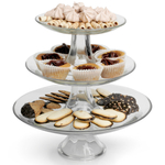 Anchor Hocking Presence Platter on a Pedestal 3 Piece Stackable Tiered Serving Platter Set
