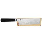 Shun Dual Core Stainless Steel 6.5 Inch Nakiri Knife with Wood Saya Sheath
