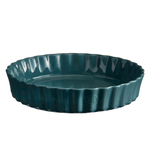 Emile Henry Blue Flame Ceramic 9.5 Inch Deep Flan Dish