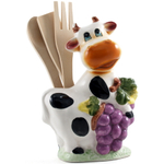 Smiling Cow with Grapes Porcelain Kitchen Tool Holder with Utensils