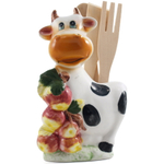 Smiling Cow with Apples Porcelain Kitchen Tool Holder with Utensils