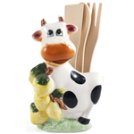 Smiling Cow with Lemons Porcelain Kitchen Tool Holder with Utensils