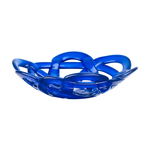 Kosta Boda Blue Glass 12 Inch Small Basket Bowl