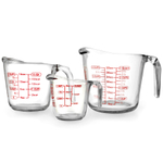 Anchor Hocking 3 Piece Glass Measuring Cup with Handle and Spout Set