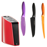 WMF Red 8-Slot Knife Block with 3 Piece Kai Pure Komachi 2 Knife Set