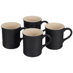 Le Creuset Cafe Collection Licorice Stoneware Mug, Set of 4