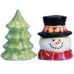 Christmas Tree & Snowman Holiday Salt & Pepper Shakers