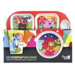 French Bull Farm 4 Piece Kids Tray Set