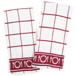 Checkerboard White and Burgundy 100% Cotton Cloth Kitchen Towel, Set of 6