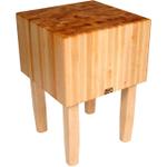 John Boos Solid 16 Inch Hard Rock Maple End Grain Butcher Block on Square Legs, 24 x 18 Inch