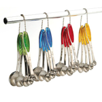 RSVP Stainless Steel Green Grip Measuring Spoons, Set of 5