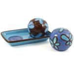 Round Ball Blue Flower Salt & Pepper Shaker Set with Tray