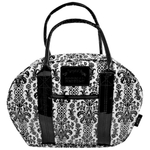 Two Lumps of Sugar Damask Black and White Bowler Lunch Bag
