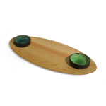 J.K. Adams Maple Oval Bread Board with 2 Oil Dipping Bowls