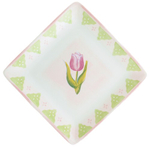 Square Floral Dessert Plates 4 Pieces with Gift Box