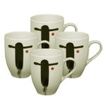 Japanese Theme 4pc White & Black  Coffee / Tea Mug Set