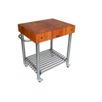 John Boos Cucina D'Amico Cherry Wood Butcher Block on Stainless Steel Rolling Cart