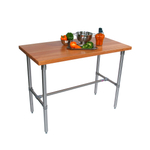 John Boos Cucina Classico Cherry Wood Edge Grain Work Table with Stainless Steel Legs, 30 x 36 Inch