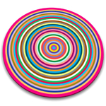 Joseph Joseph Colored Rings Worktop Saver Round Glass Cutting Board, 12 Inch