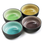 RSVP Assorted Color Crackle Porcelain Japanese Single Sauce Bowl