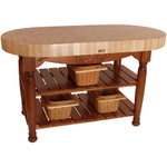 John Boos American Heritage Brown End Grain Maple Harvest Table with 2 Shelves