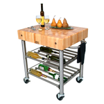 John Boos Cucina D'Amico Maple Block and Stainless Steel Rolling Wine Cart