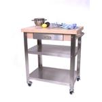 John Boos Cucina Elegante Edge Grain Maple and Stainless Steel Rolling Chef's Cart