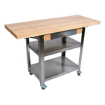John Boos Cucina Elegante Edge Grain Maple and Stainless Steel Chef's Cart with 2 Drop Leaves